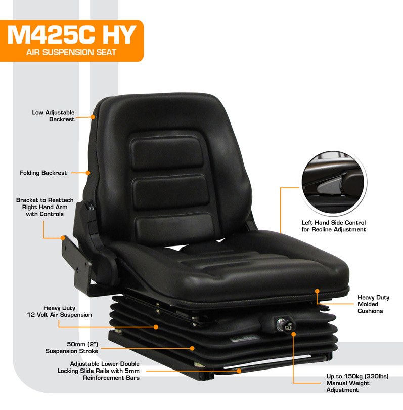 Air Suspension Seats For Forklifts : M c hyster forklift with right hand controls low profile
