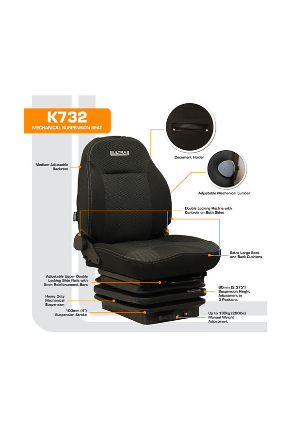 K732 Height Adjustable Mechanical Suspension Seat